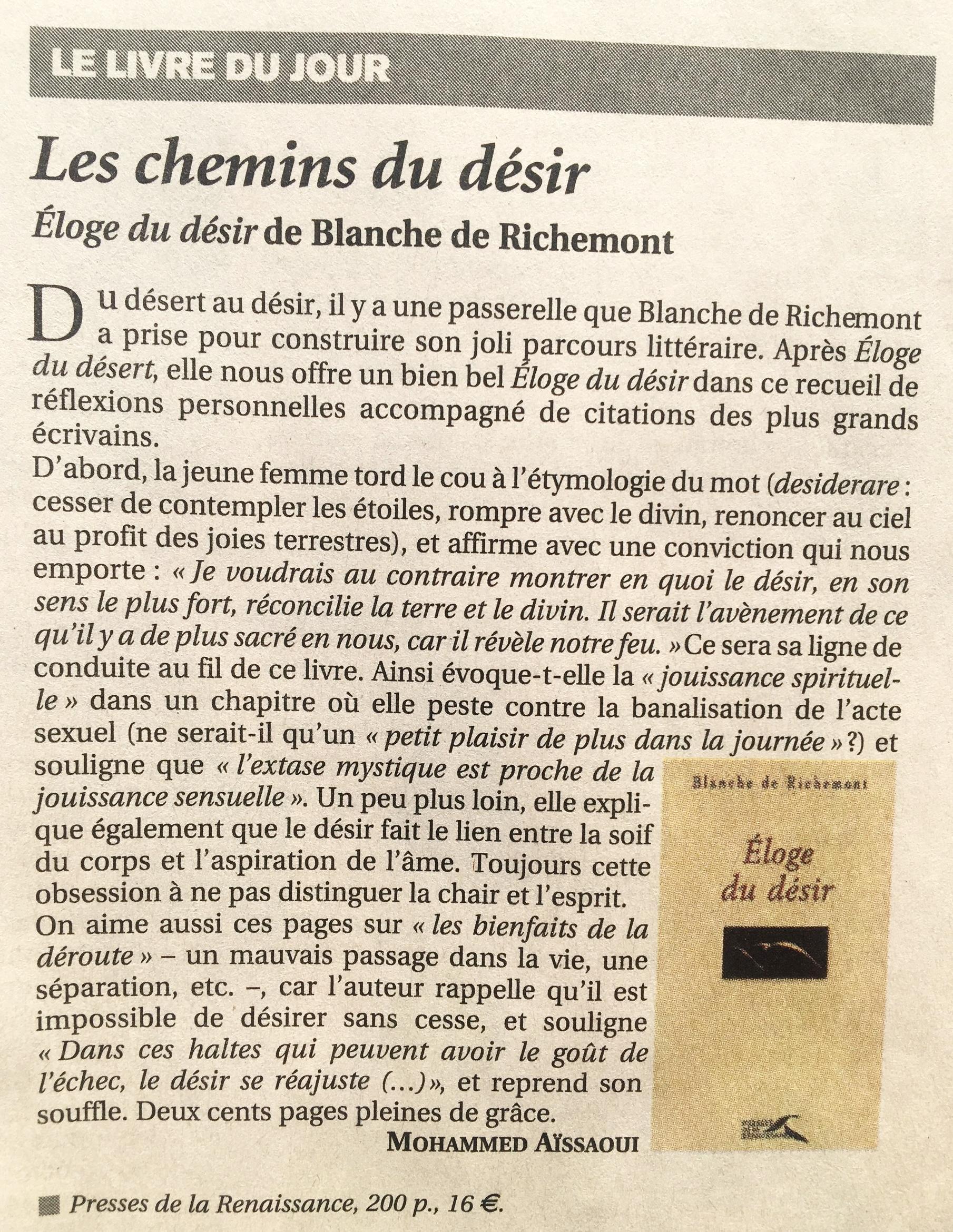 Eloge du désir. Figaro Littéraire. Septembre 2007
