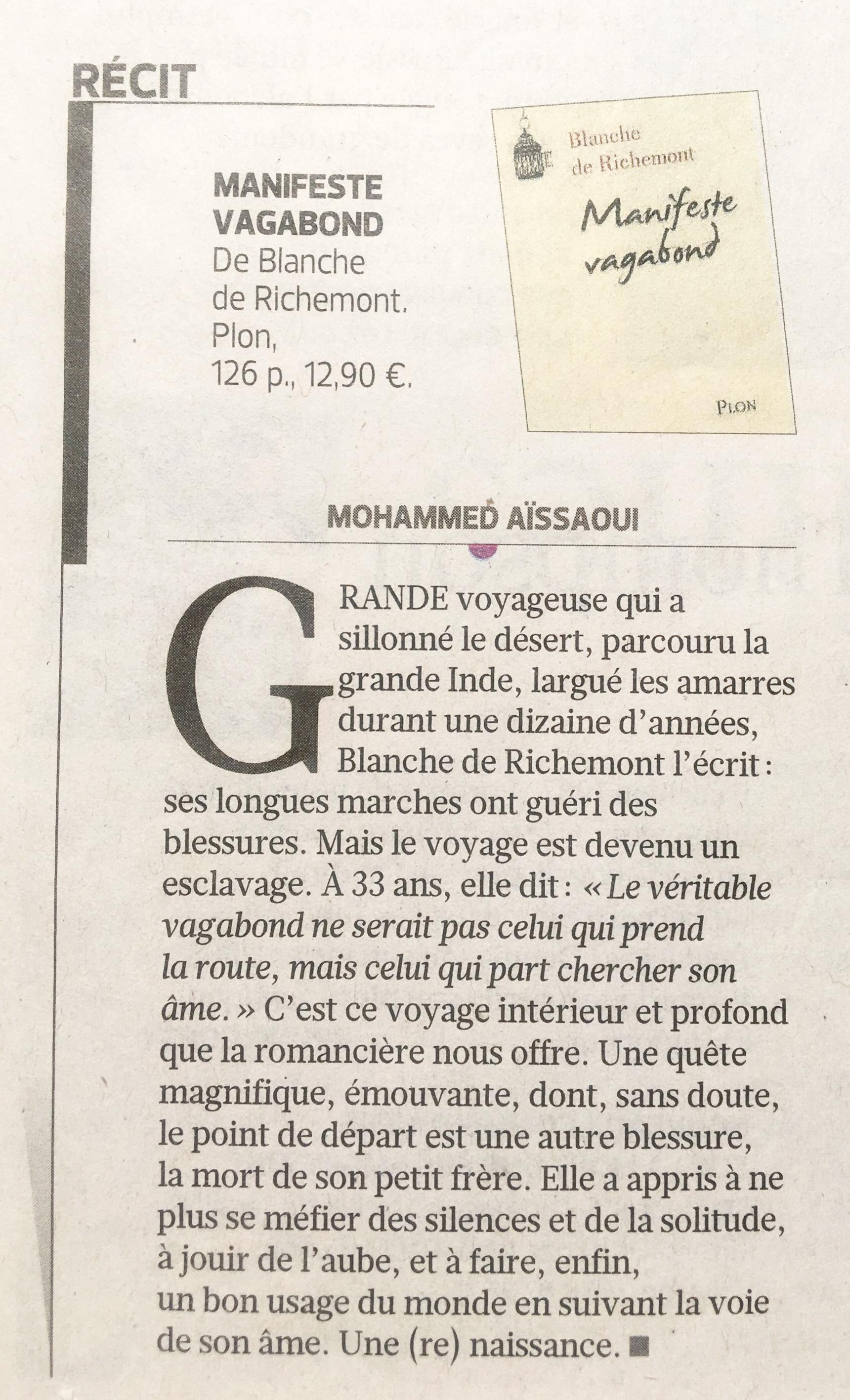 Manifeste Vagabond.Figaro Littéraire. Juin 2012