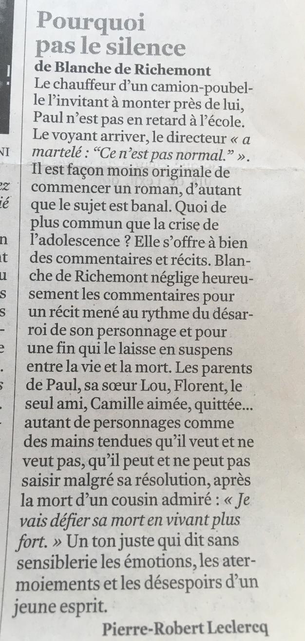 Pourquoi pas le silence. Le Monde. Aout 2008