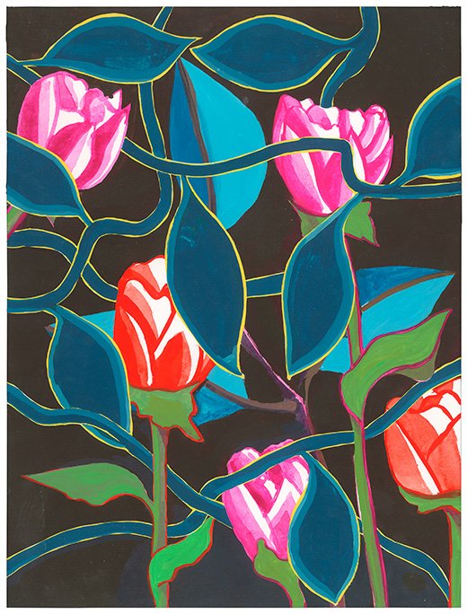 """Tulips, and Teals , acrylic gouache on hot press paper, 12 x 16"""""""