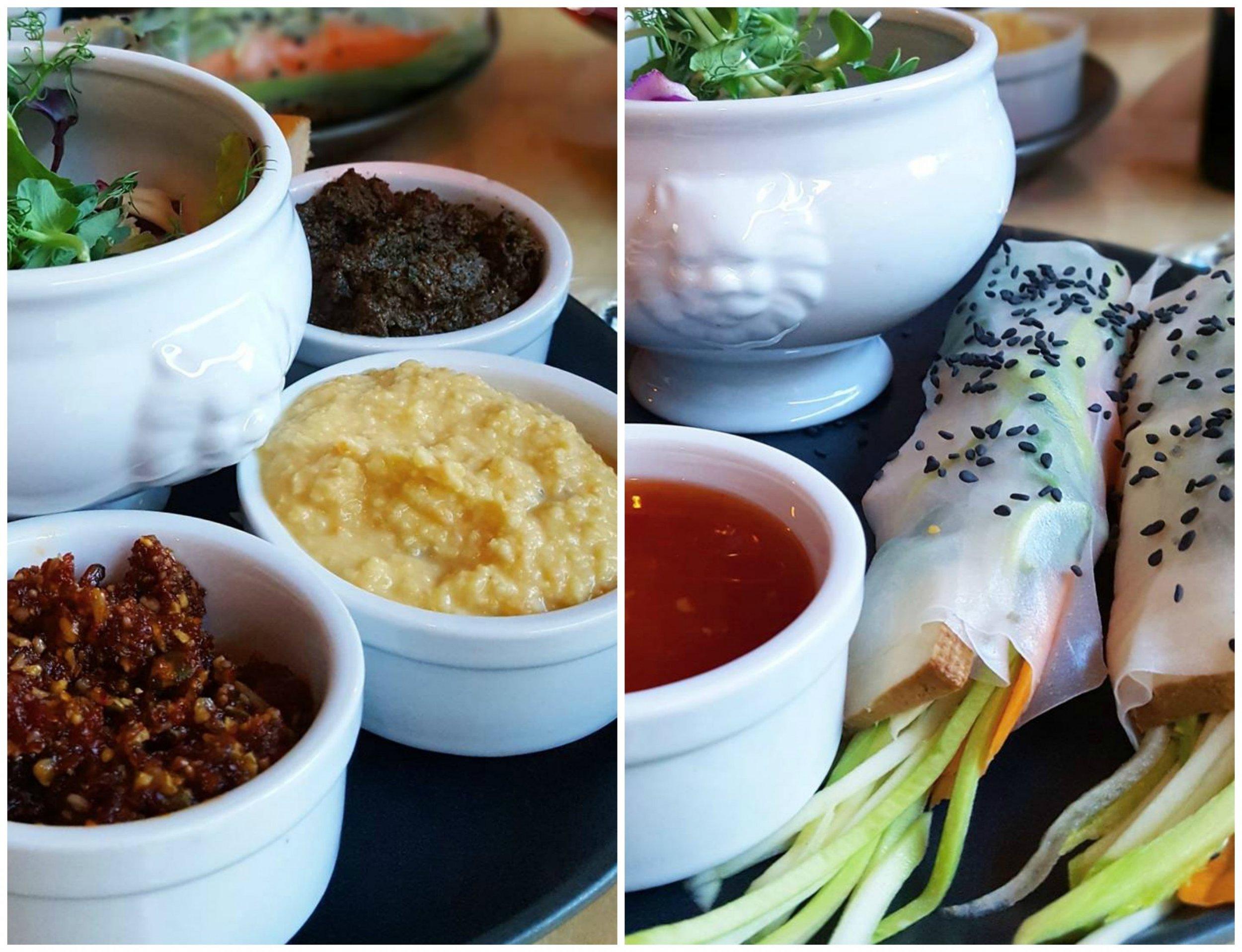 Röror (som åts med tortillas) och vietnamesiska salladsrullar med sötsursås.