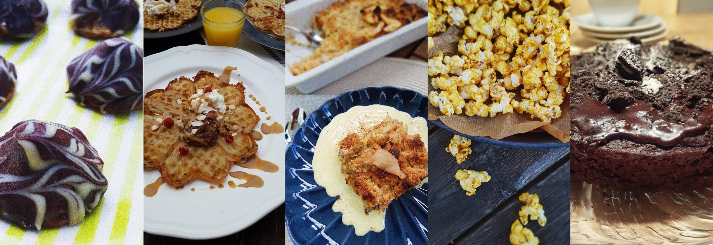 Biskvier  //  Koksovåfflor  //  Äppelpaj  //  Karamelliserade popcorn med havssalt //  Oreokladdkaka