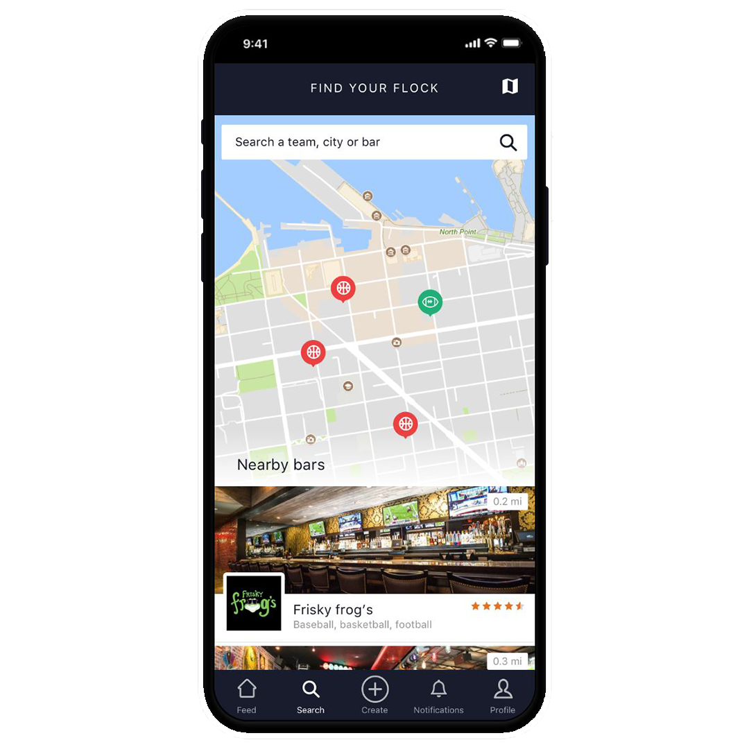 Discover - Find the most relevant sports bars near you with our comprehensive location-based mobile app.