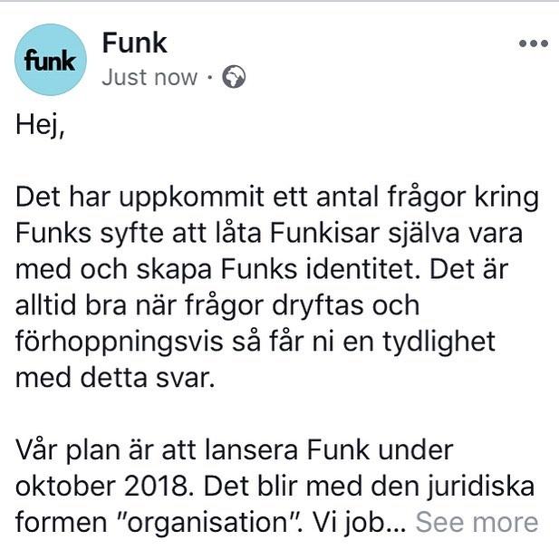 Besök gärna vår Facebook-sida där vi delar med oss lite mer kring våra planer och syftet med att starta Funk! Länk i bio. #merfunk