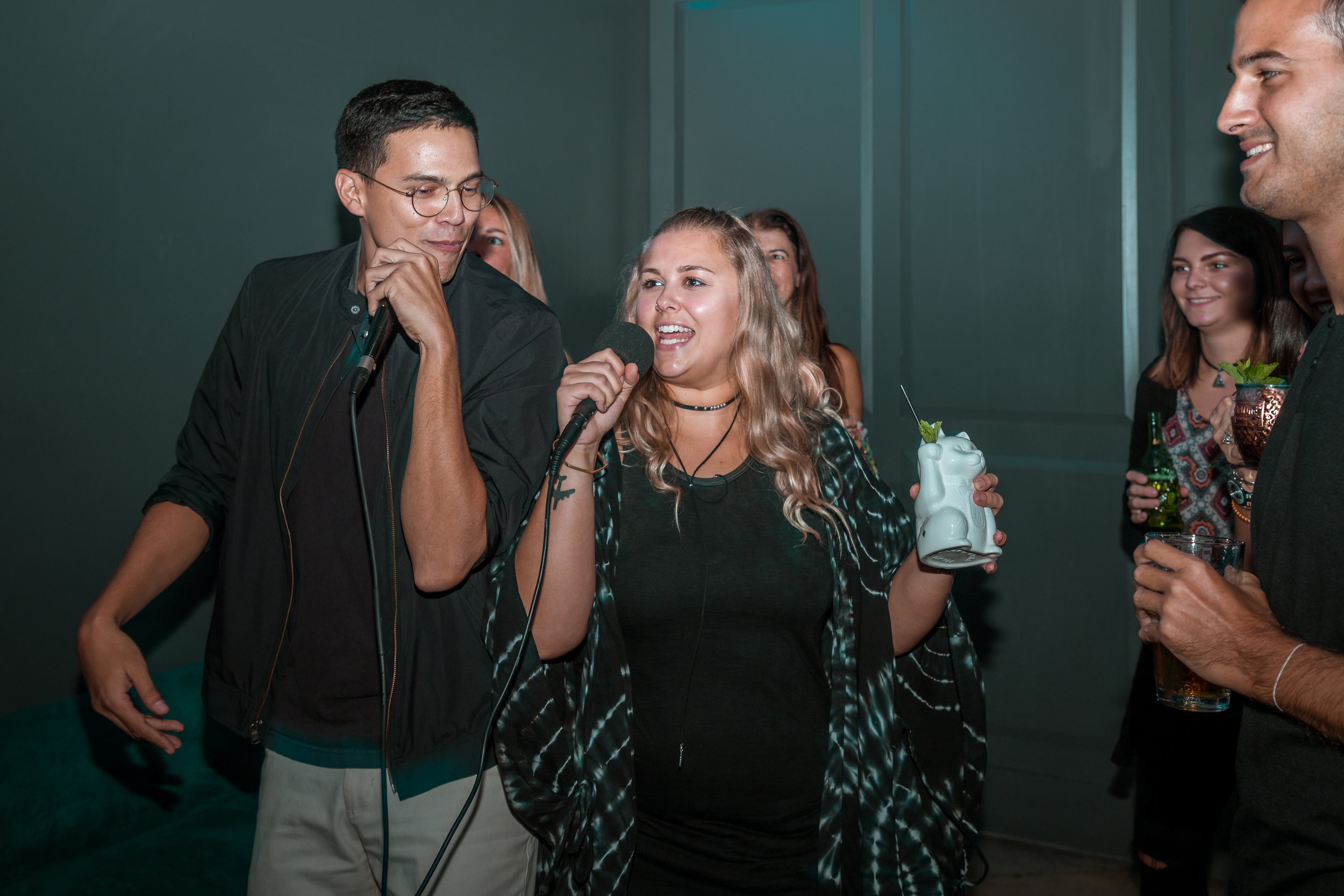Karaoke Night at 1-800-Lucky - Grab your friends and come on over to 1-800-Lucky's karaoke room! You can sing along every day of the week, with songs available from a wide variety of musical genres.