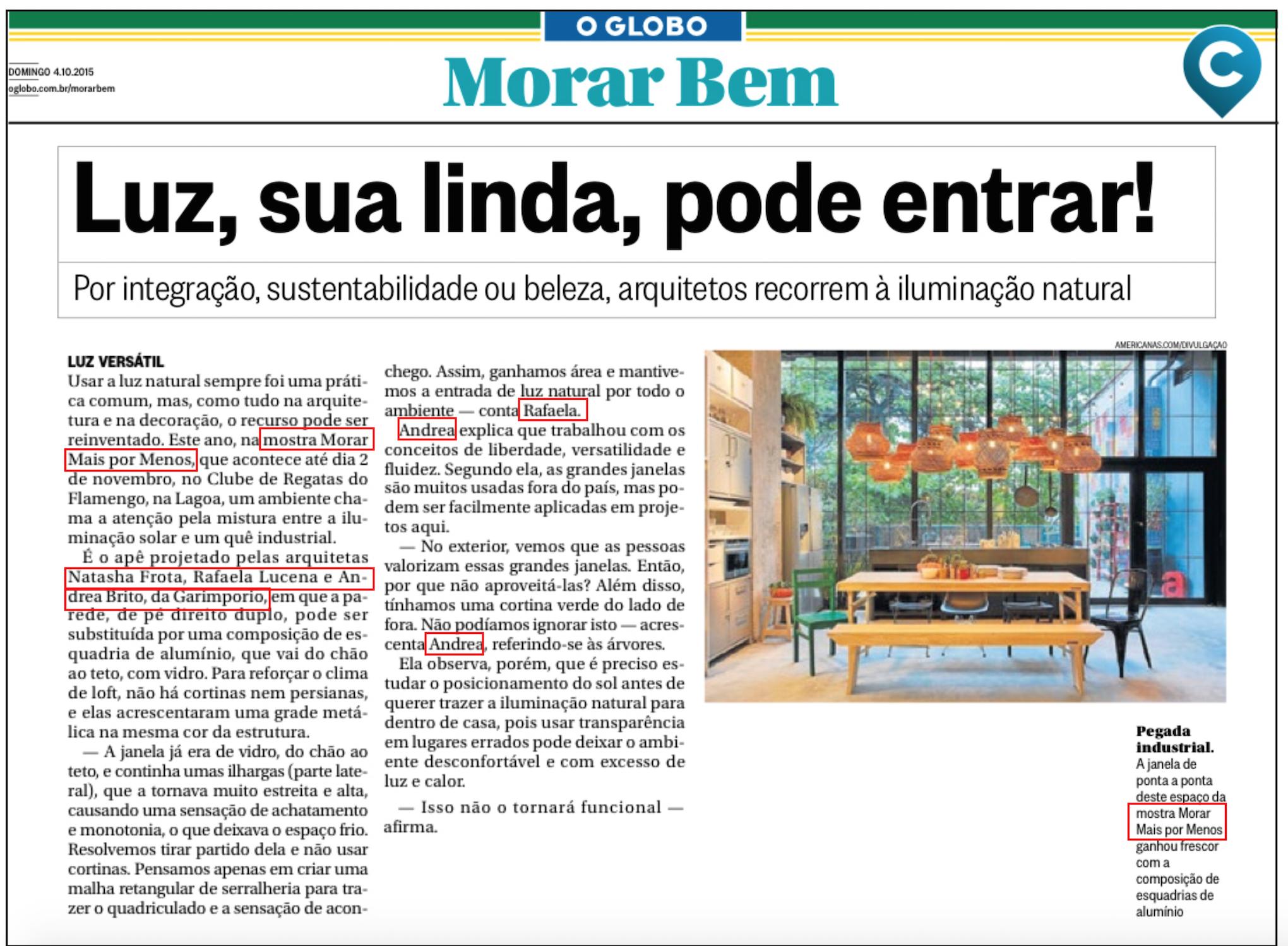 CADERNO MORAR BEM  - JORNAL O GLOBO 04.10.15