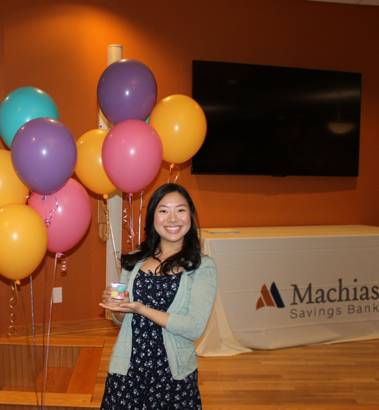 Jaelin after delivering her keynote speech at the Future Promises Awards Banquet at Machias Savings Bank in Machias.