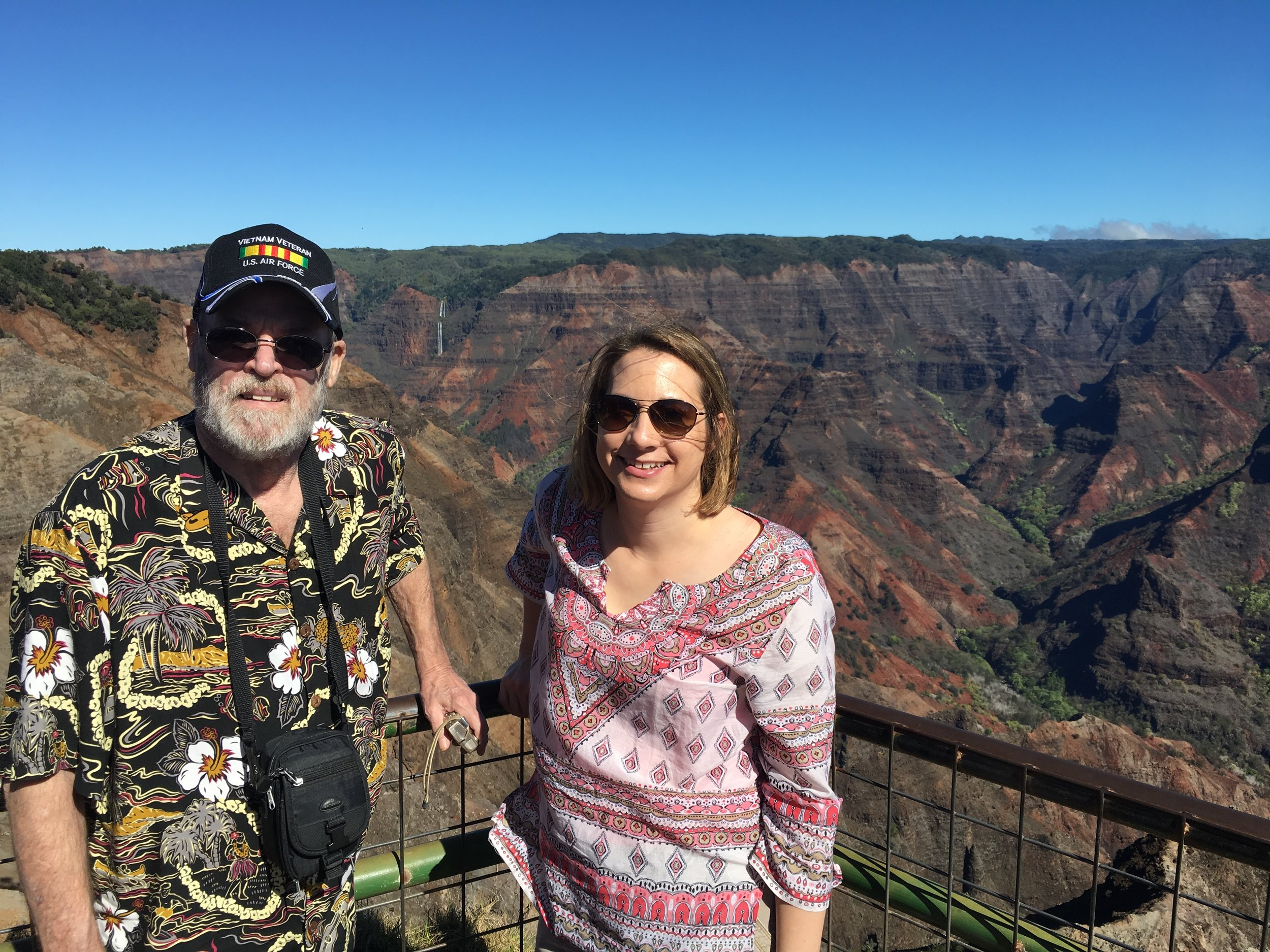 Amy and her Dad at Waimea Canyon