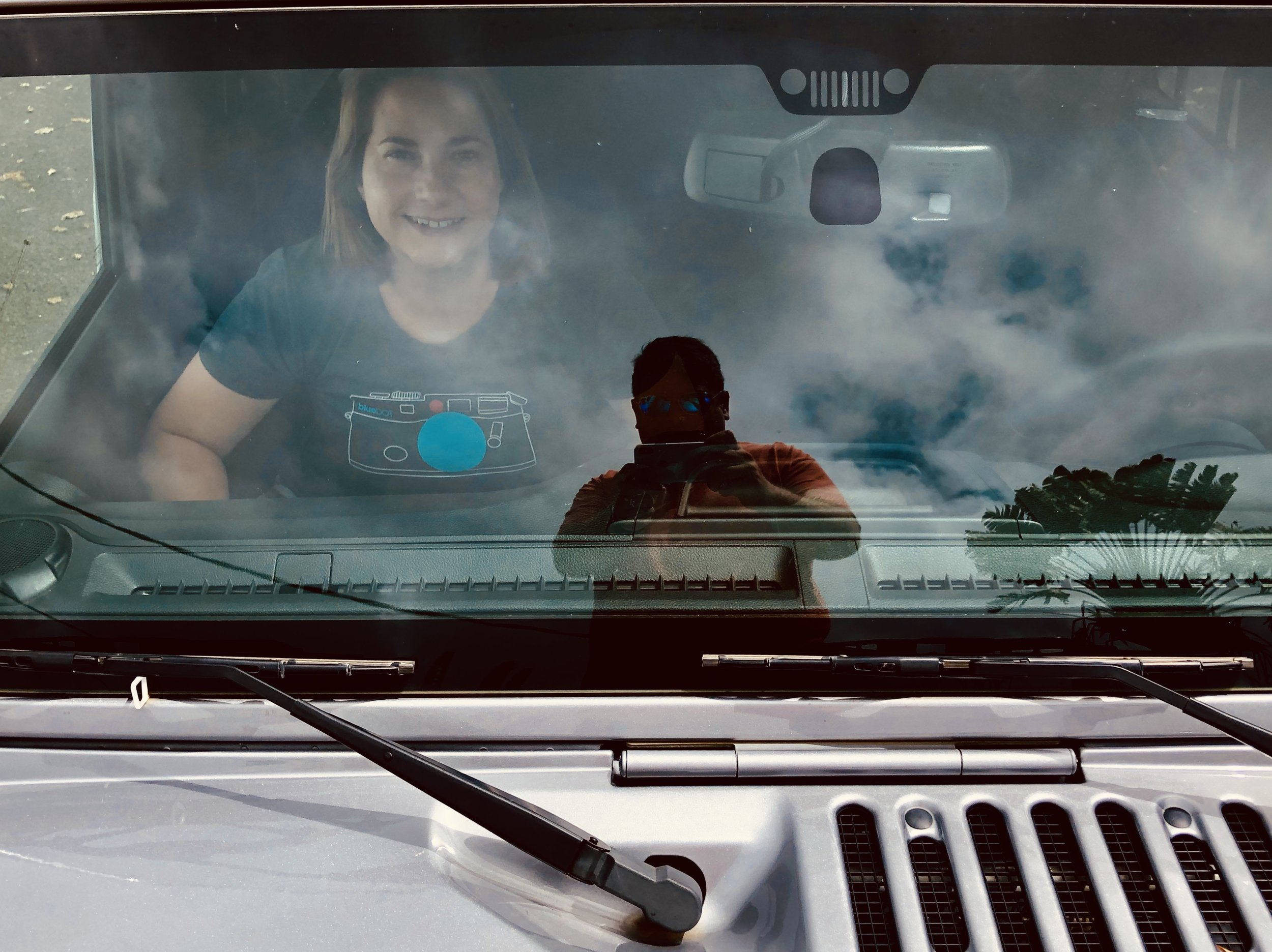 Red Dot Blue Dot Reflective Jeep Selfie