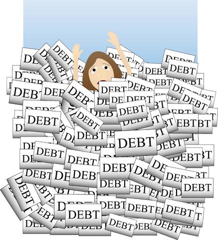 bills-cartoon woman drowning in debt.jpg