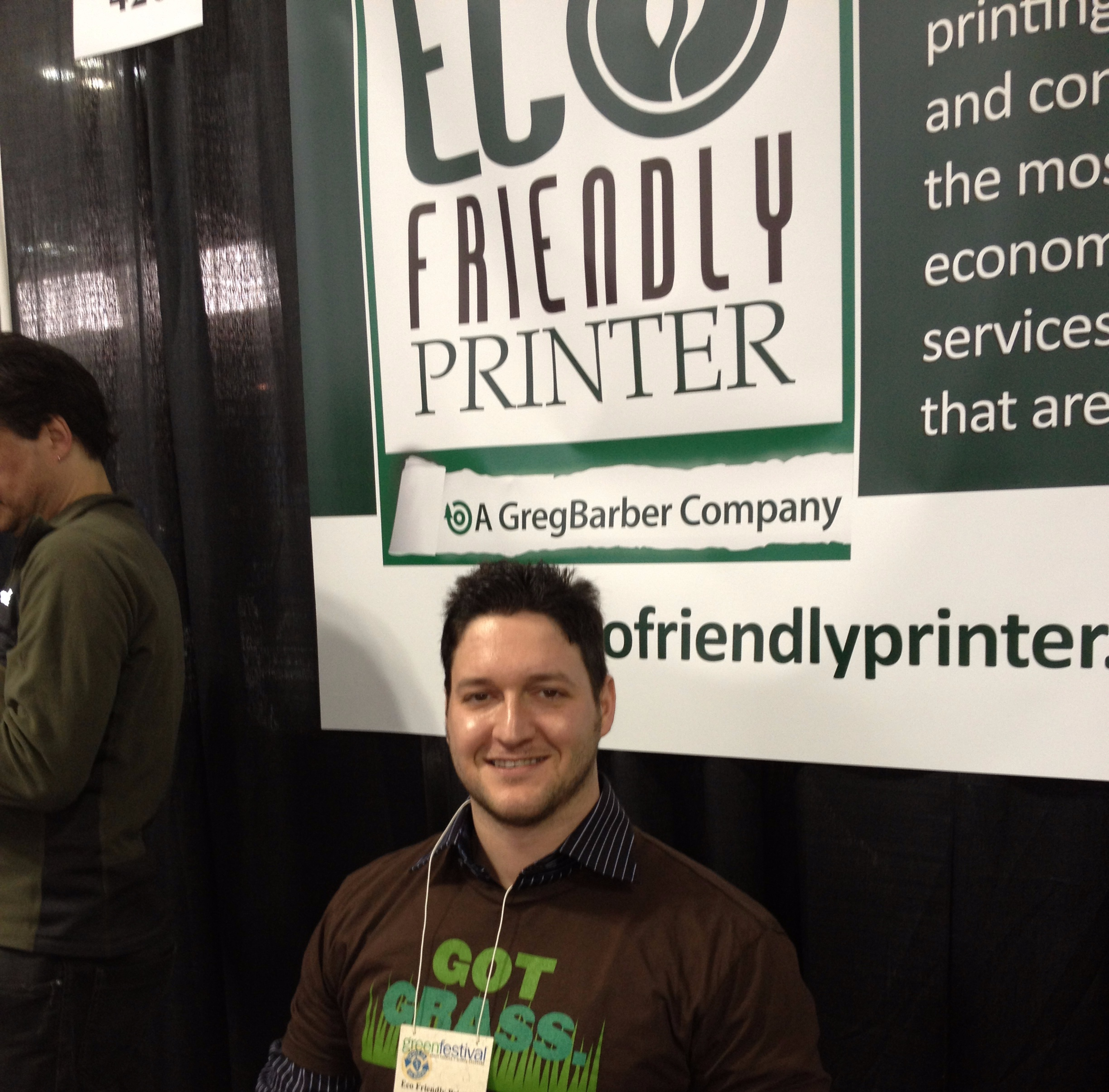 - An integral part of EcoFriendly Printer, is our Business Development Manager, Jonathan Cooper. Jonathan has been with us since 2014 and has industry experience in green printing going back to 2007. This picture if from the Go Green Expo at the Javits Center in NYC 2014.