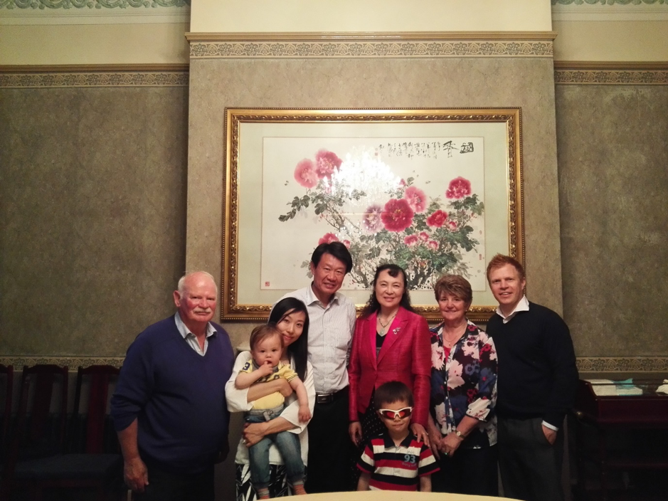 Whalley Family with Consul General Li Yongsheng and wife at Residence in Manchester