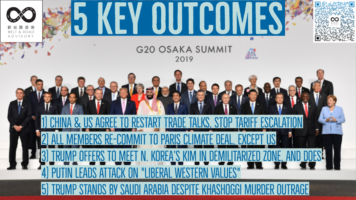 The Belt and Road Advisory's take on the 5 key outcomes of the two-day G20 Summit held June 28-29, 2019 in Osaka, Japan