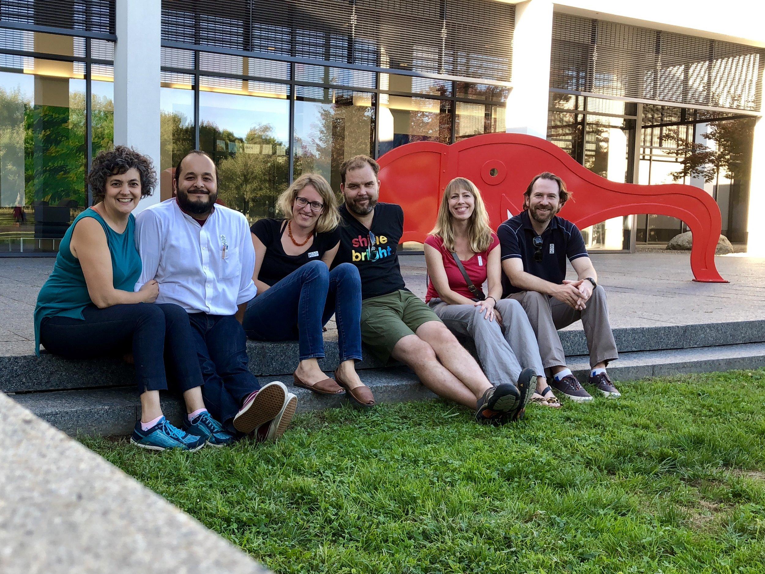 Us, Charlotte & Matthew, Lauren & Scott, a Mo Willems elephant at The Carle