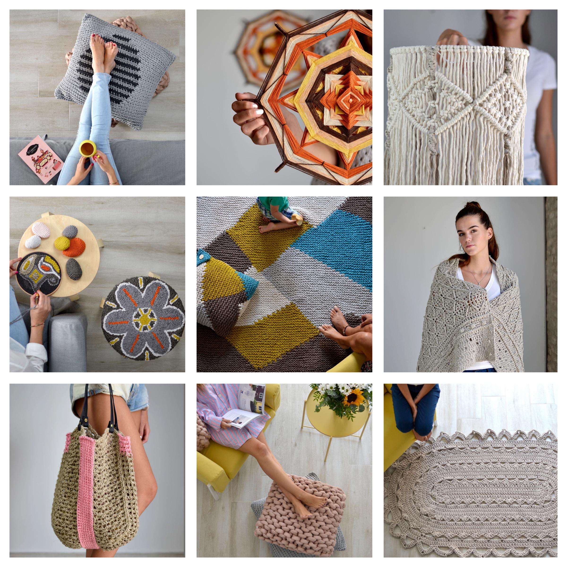 De 9 técnicas diferentes… - Punto, crochet, amigurumi, macramé, tapiz, tunecino, punch needle, y arm knitting.