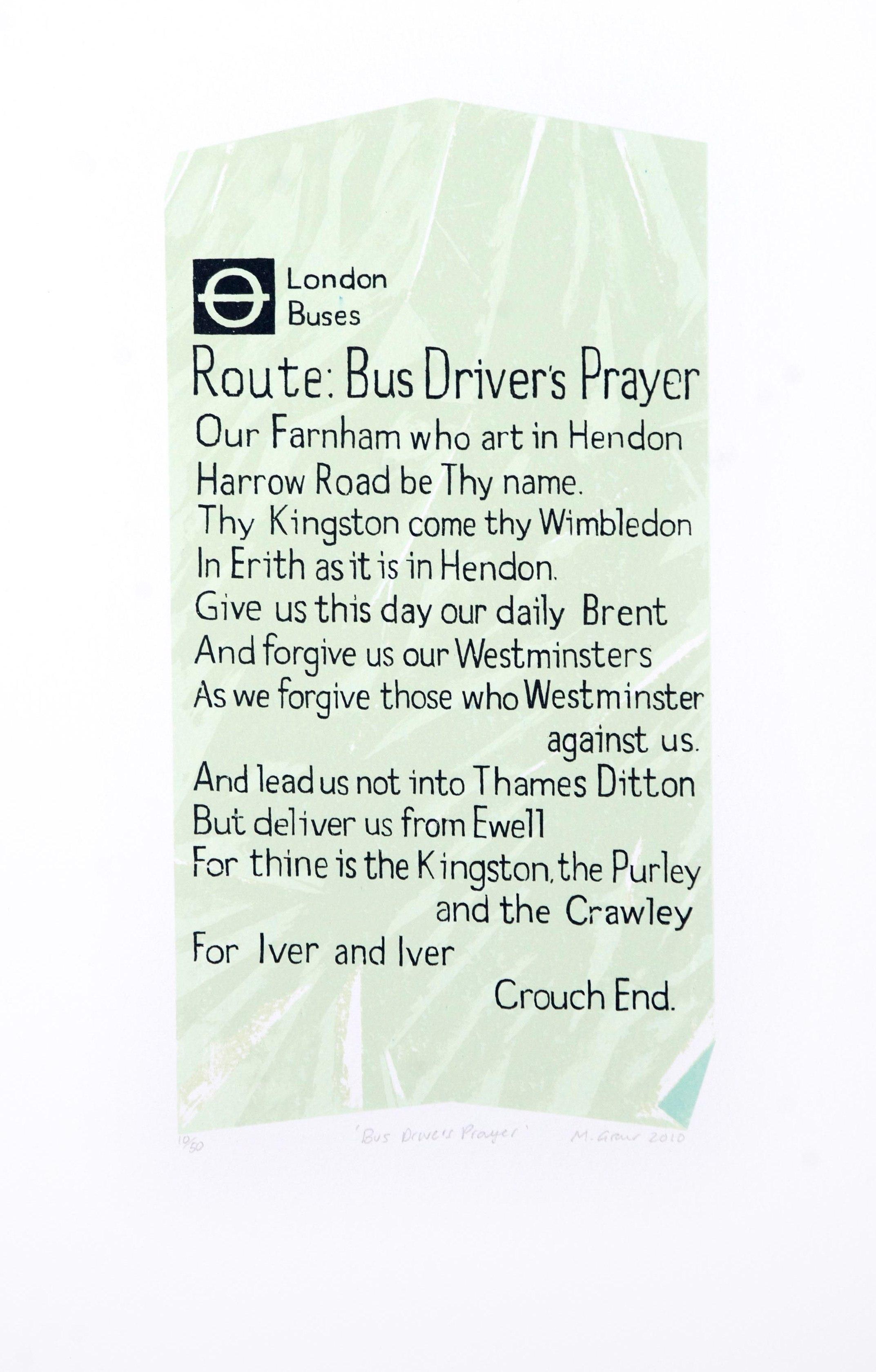 Bus Driver's Prayer Ticket