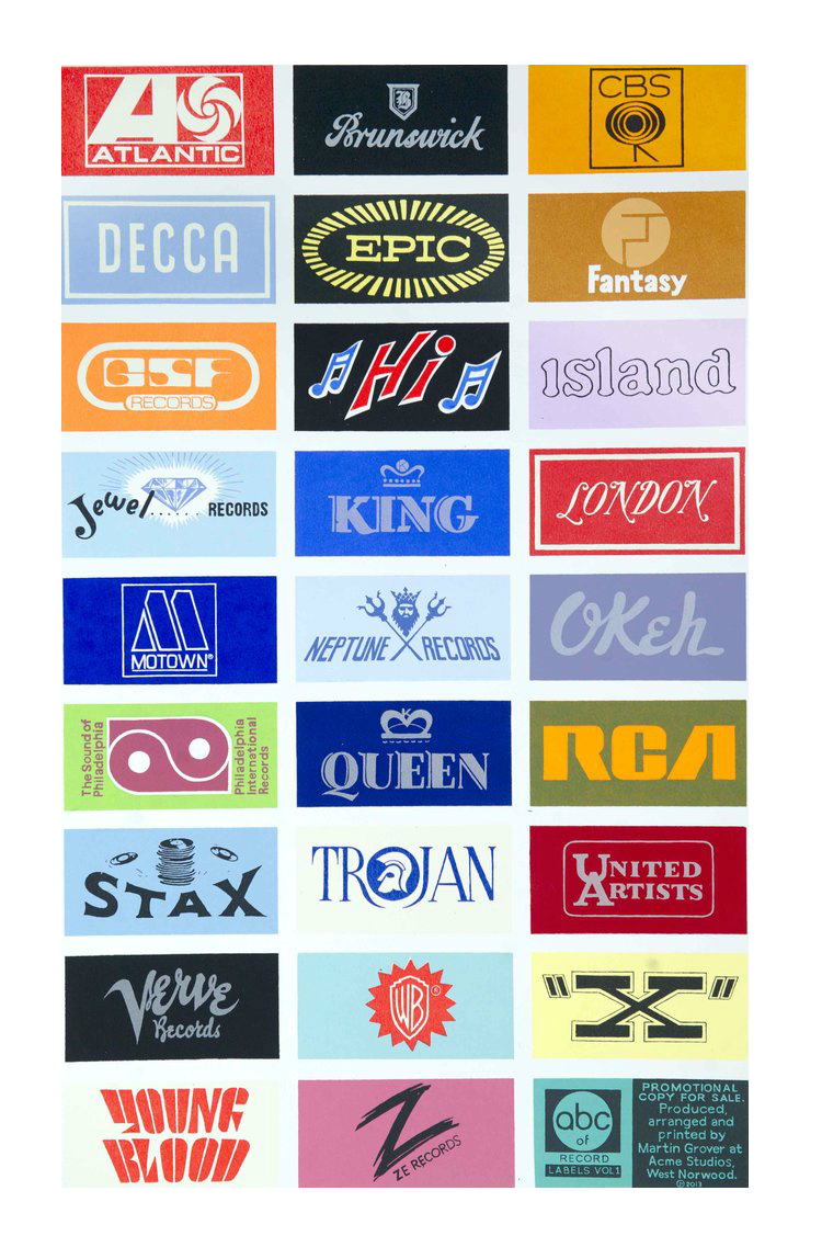 A-Z Record labels Vol I -  screen print