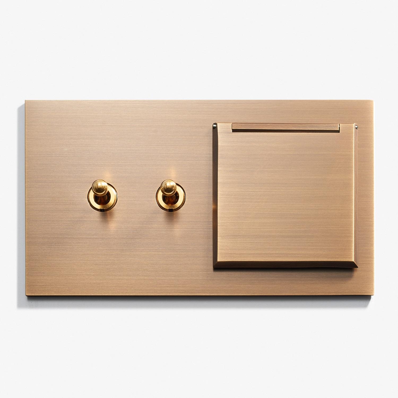 144 x 82 - 2 INV + Outlet - Cover - Hidden Screws - Straight Edge - Bronze Médaille Allemand 1.jpg