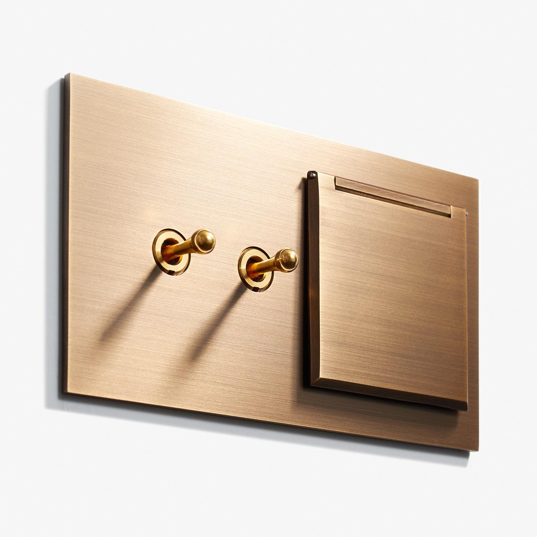144 x 82 - 2 INV + Outlet - Cover - Hidden Screws - Straight Edge - Bronze Médaille Allemand 3.jpg