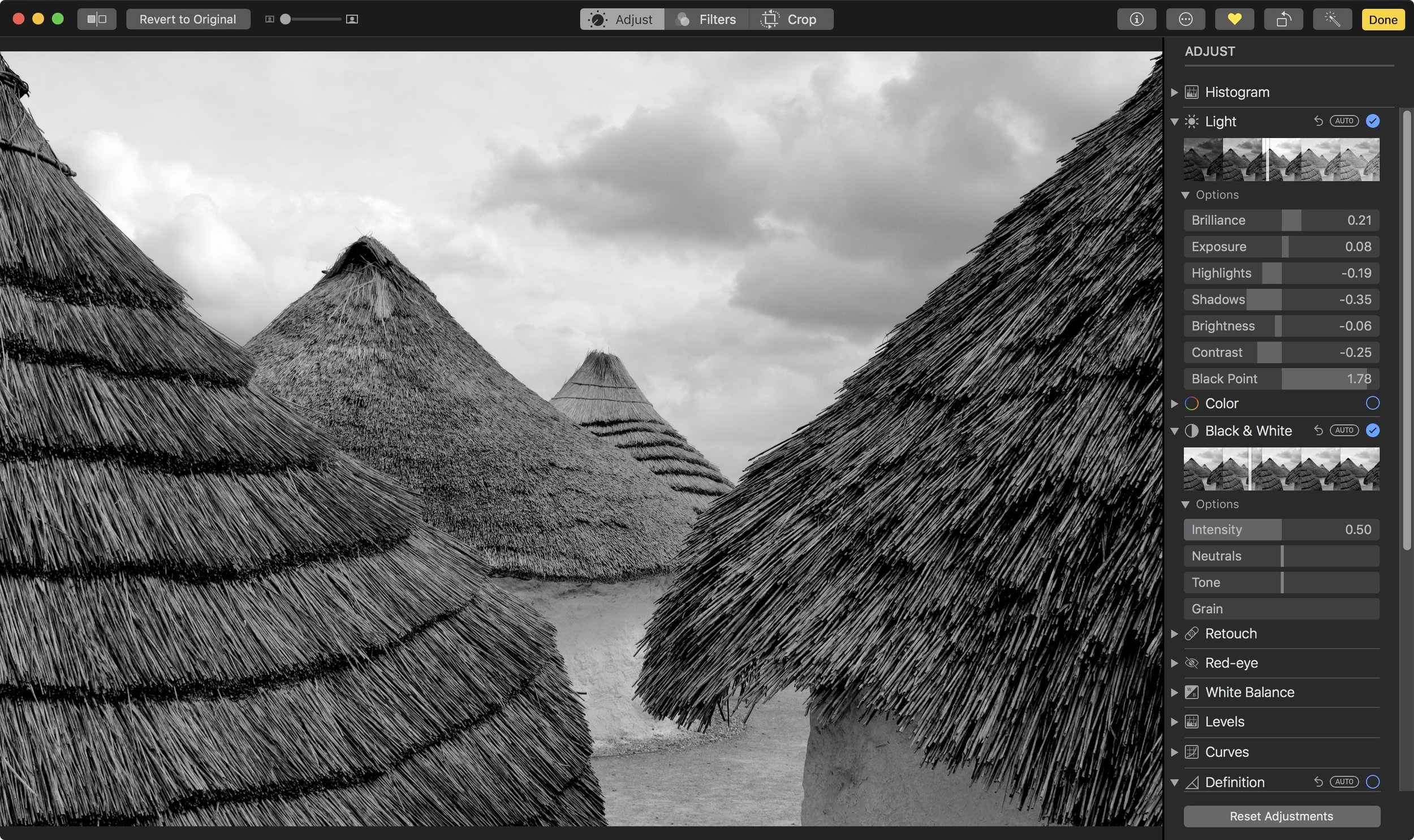 This image was converted using the Black & White slider.