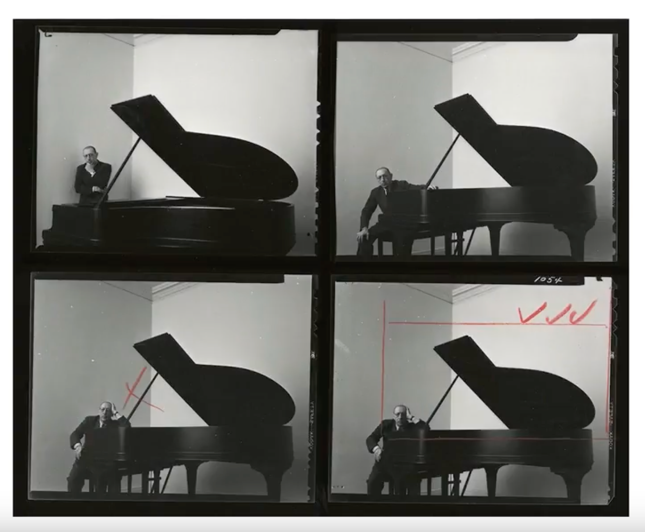 Contact sheet from Newman's portraits of Igor Stravinsky.