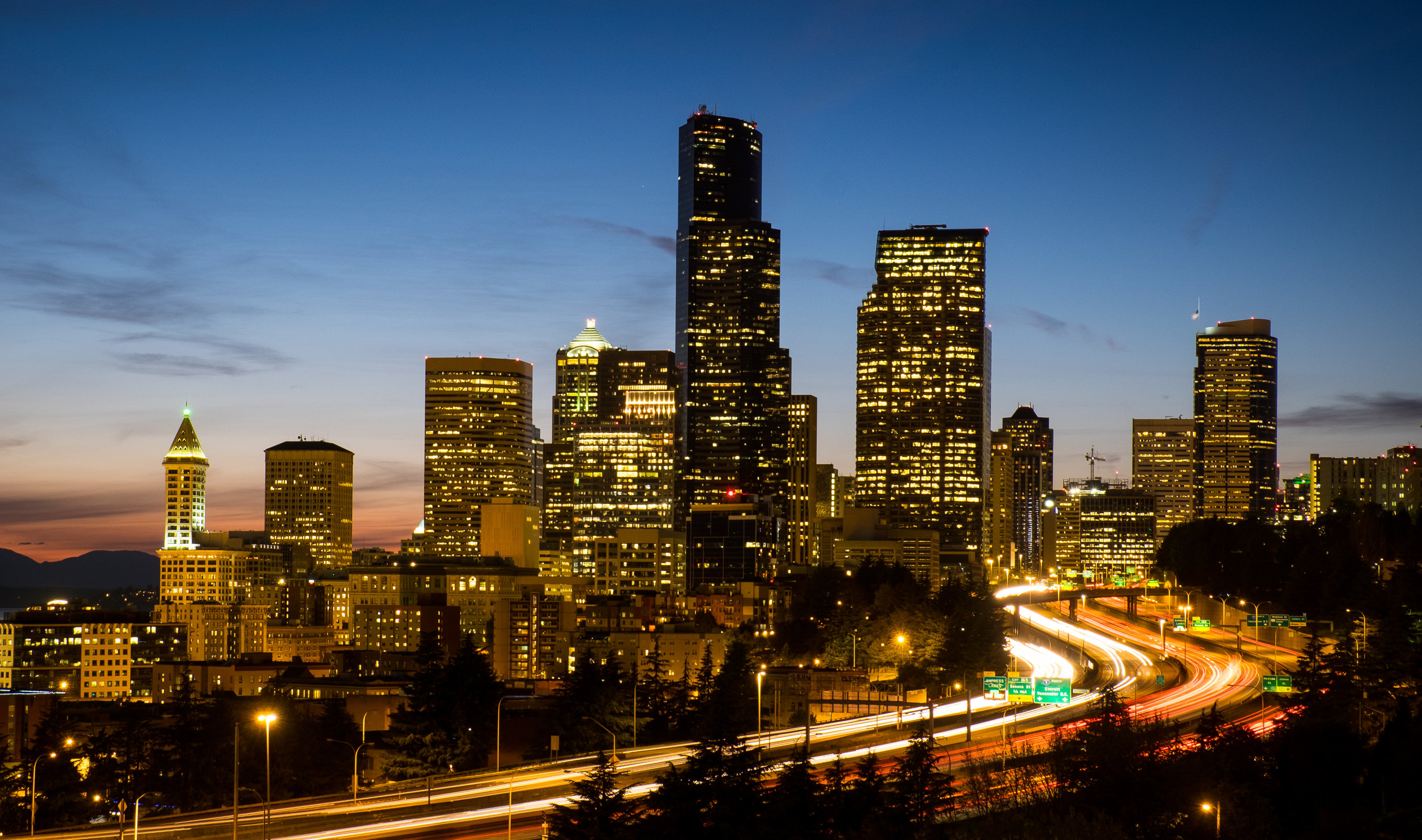 Seattle Skyline, Dr. Jose Rizal Bridge  Camera: Fujifilm X-T1 Shutter speed: 8 seconds Aperture: f/10 ISO: 200 Photo: Jeff Carlson