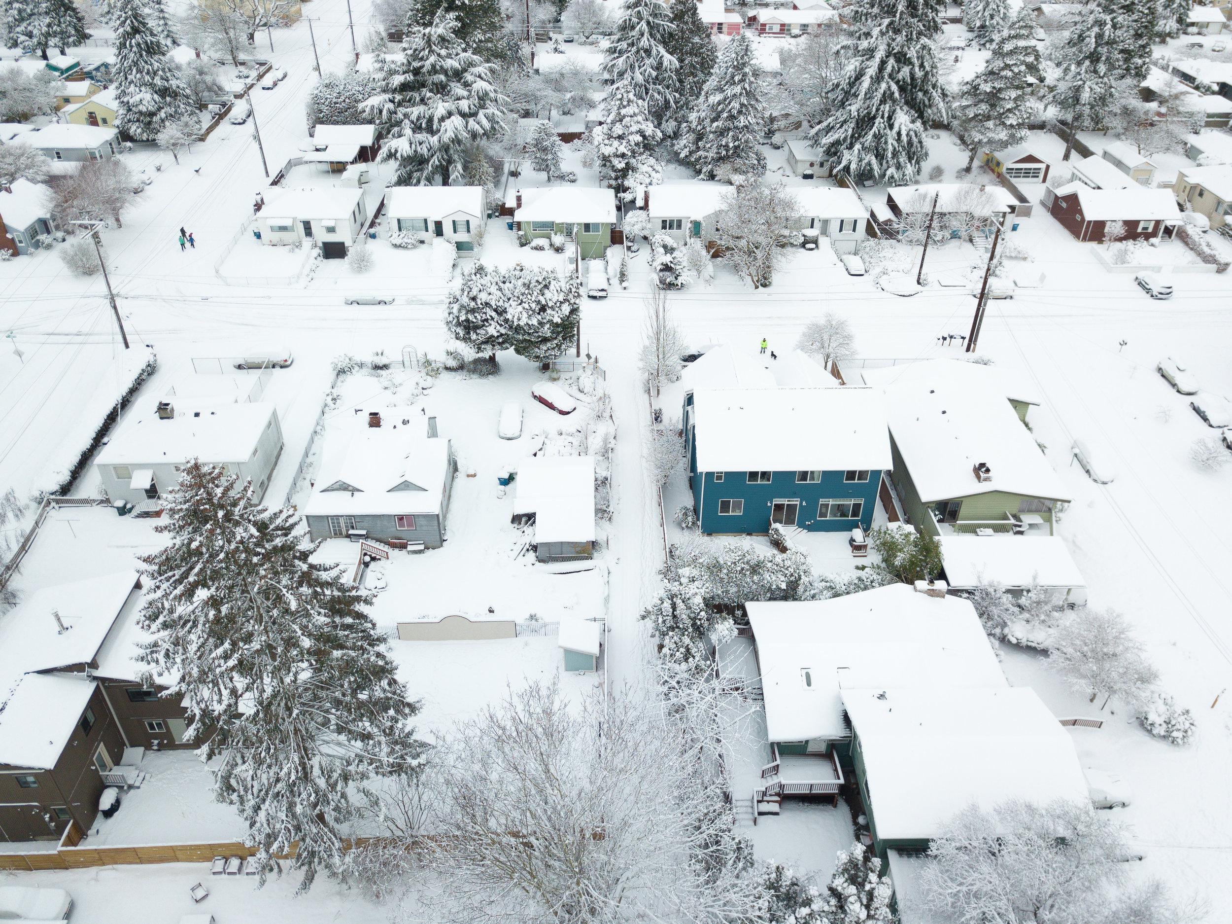 Looking over the snowy neighborhood  Camera: DJI Mavic Pro Shutter speed: 1/320 sec Aperture: f/2.2 ISO: 100 Photo: Jeff Carlson