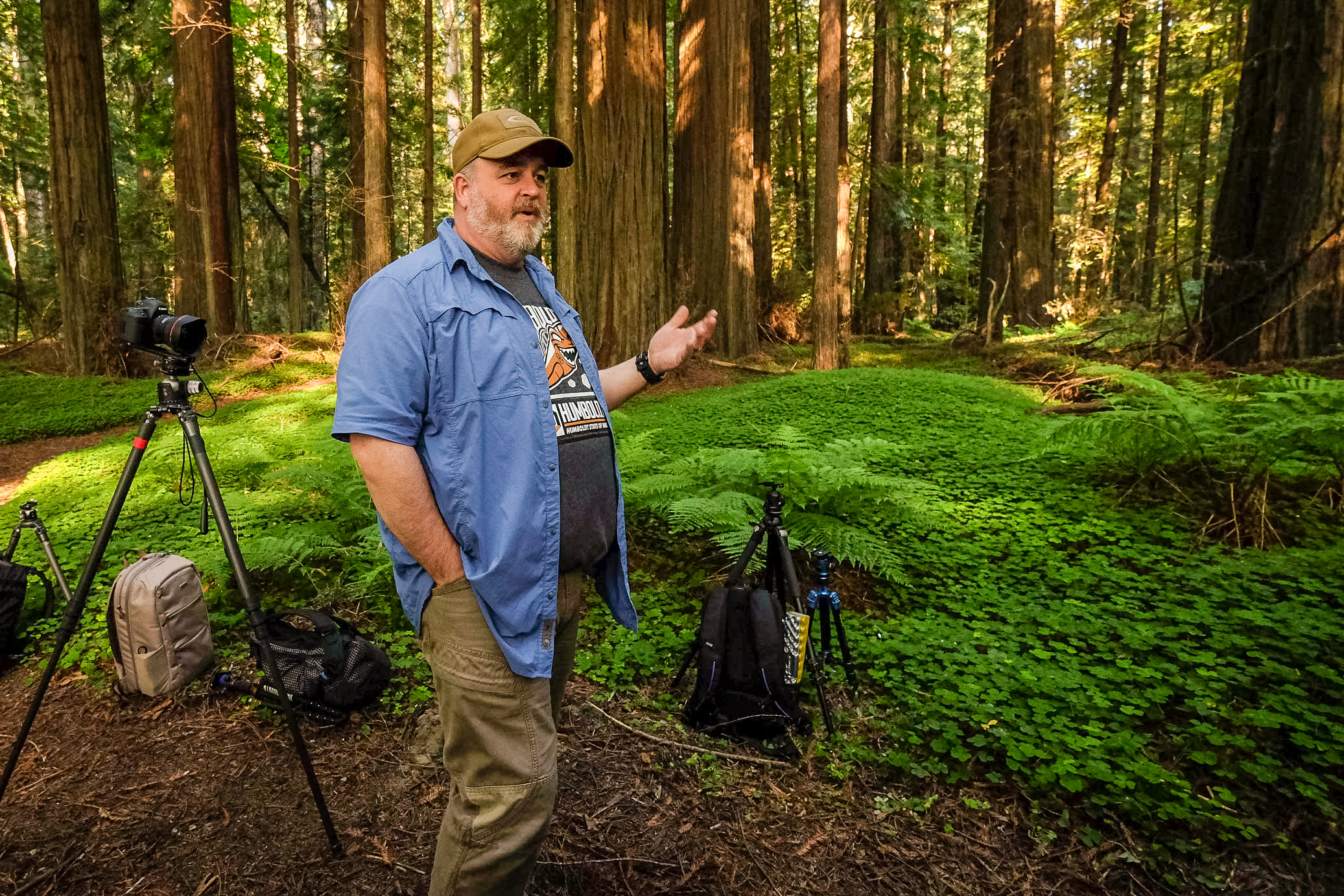 Mason Marsh leading a photo workshop in Redwoods National Park  Camera: Fujifilm X-T1 Shutter speed: 1/60 sec Aperture: f/4 ISO: 1600 Photo: Jeff Carlson