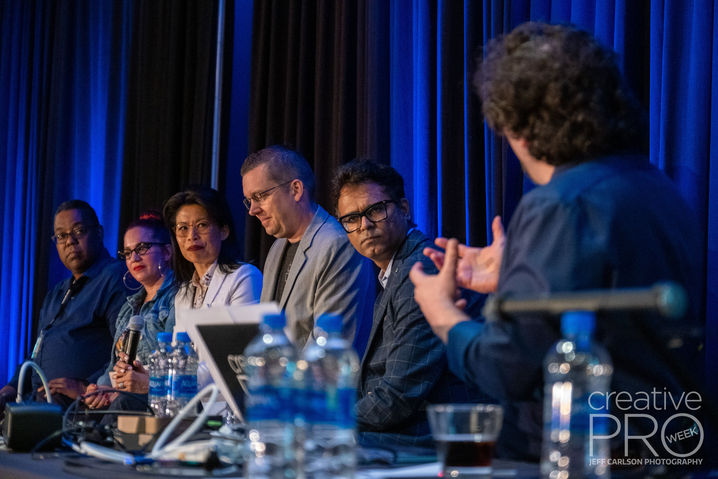 InDesign 20th Anniversary Panel at CreativePro Week 2019  Camera: Fujifilm X-T3 Shutter speed: 1/125 sec Aperture: f/2.8 ISO: 3200 Lens: Fujifilm XF 16-55mm f/2.8 LM WR Photo: Jeff Carlson, courtesy of CreativePro Week