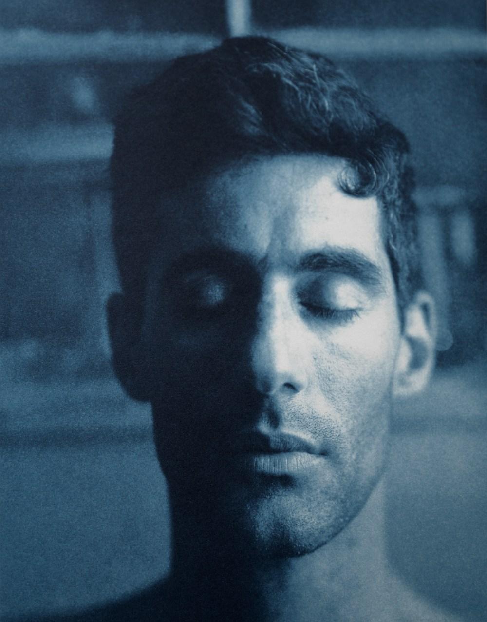 John Dugdale//  Self-Portrait in Summer Haze  // Lockwood Farm, New York// 1999 // Cyanotype Print