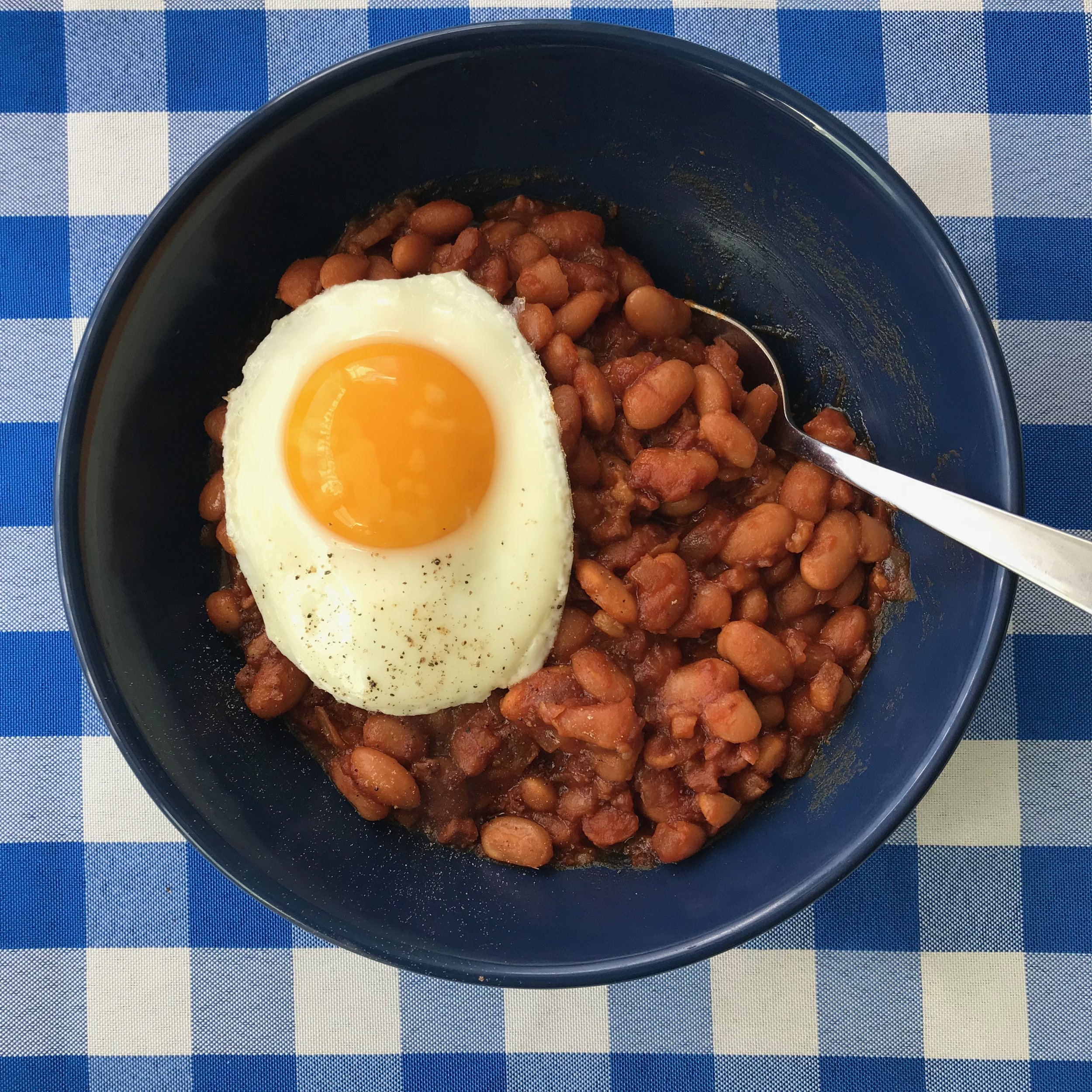 Make baked beans as part of your Sunday night dinner, then top leftovers with a fried egg for a quick weeknight meal another night.