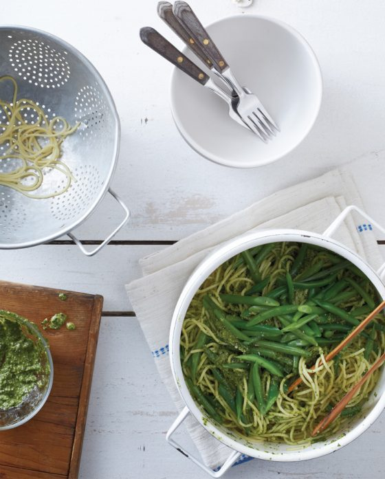 Pasta with Spinach Pesto and Green Beans from Make It Easy cookbook by Stacie Billis, co-host of Didn't I Just Feed You, a podcast about feeding families