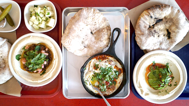Hummus meal at Dizengoff | Photo: Anna Dickson for Zagat