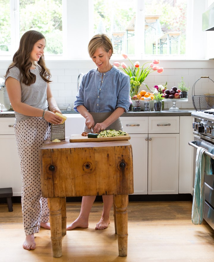 Katie Morford and her teen daughter who helped curate the recipes for her cookbook Prep: The Essential College Cookbook | Photo by Erin Scott for Roost Books | featured at Didn't I Just Feed You, a food podcast for parents