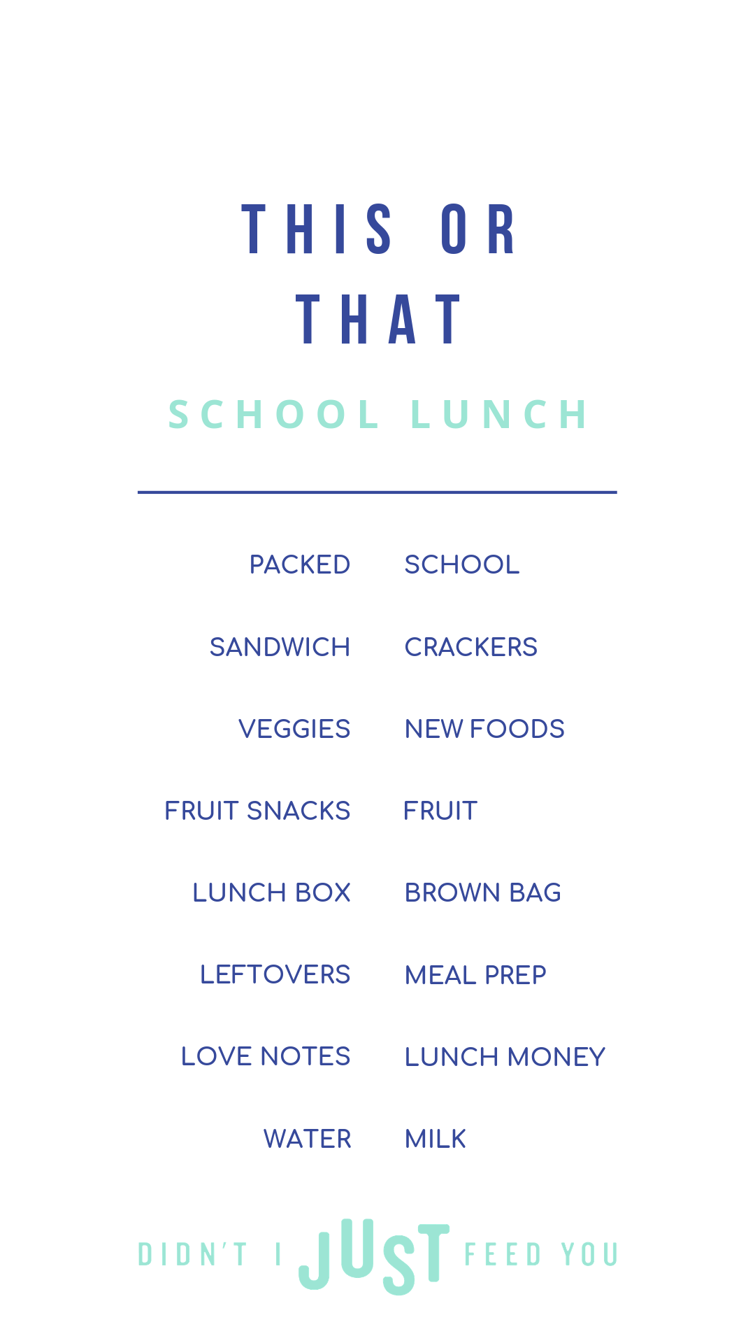 A fun school lunch mix-and-match game... that actually helps too. | The back-to-school season of Didn't I Just Feed You has begun and we've got all the school lunch packing tips | a food podcast for parents — even the ones who don't love to cook.