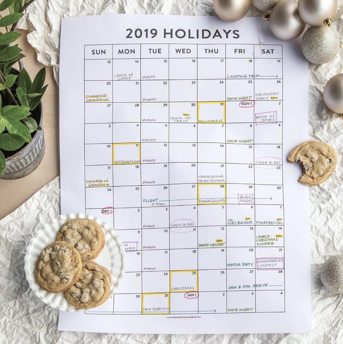 the holiday calendar from The Essential Calendar