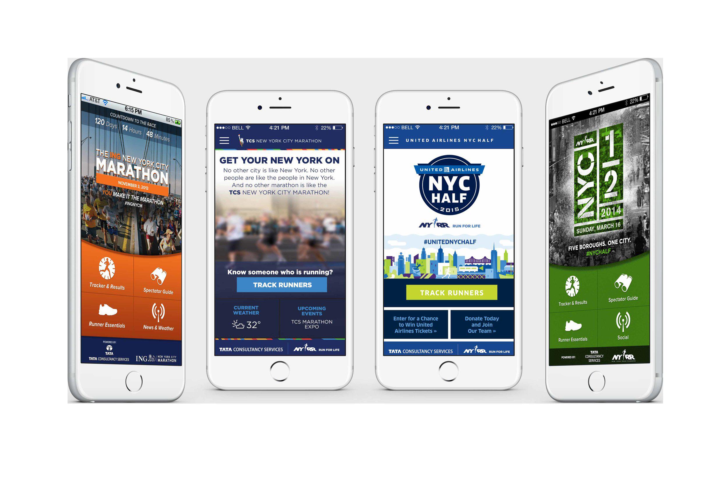 NYC Marathon App Porfolio - Mobile app designs for the NYC Half and Full Marathons