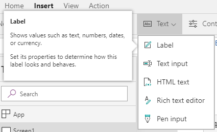 Options for text elements you can add inside of PowerApps.