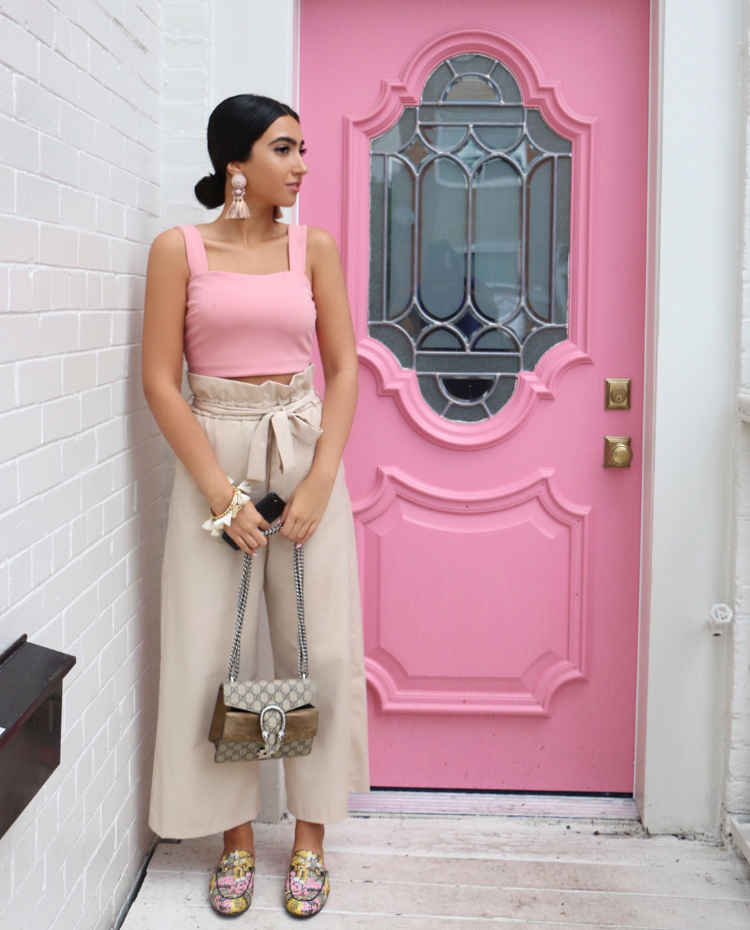 Pictured: Zara culottes, pink crop top from dynamite, Gucci loafers and bag.