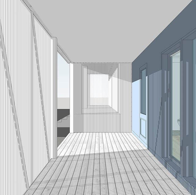 Some balcony work and progress shots showing different forms of filtering light and providing privacy! #wip #balcony #sketchup #design #architecture #schematic #filtered #light