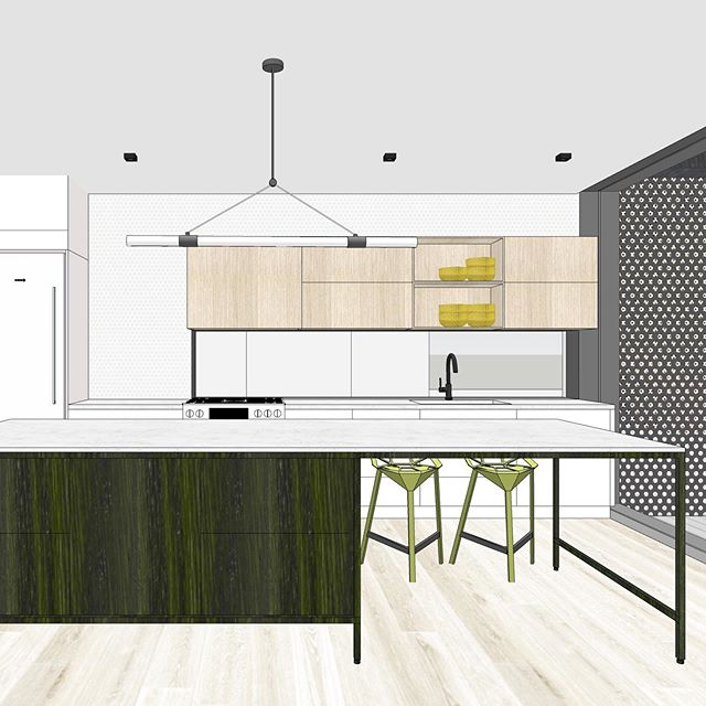Proposing some funky colours for this kitchen design! #wood #kitchen #design #architecture #interiordesign #interiors #custom #newbuildhome #colour #torontodesign #toronto #postarchitecture #kitchendesign #interiordesign #3dmodelling #transforminghomes