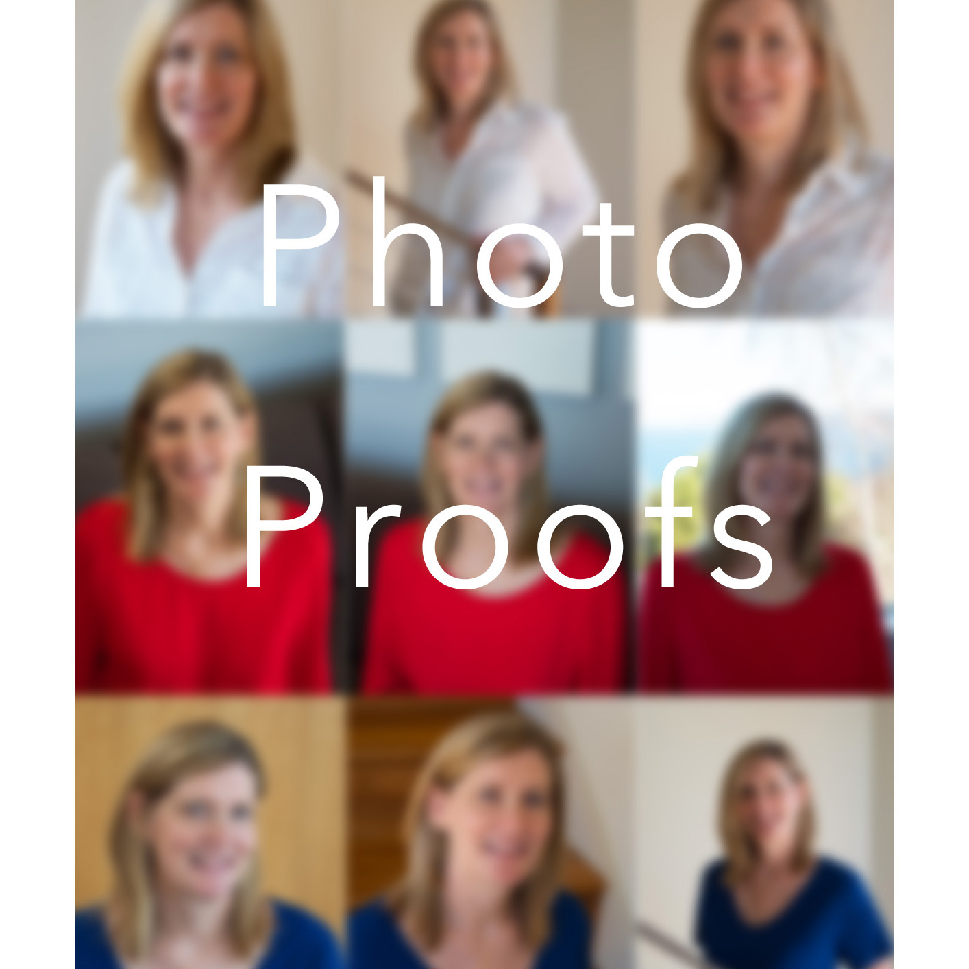 out of focus illustration grid of 9 photos showing different poses for portrait proof selection