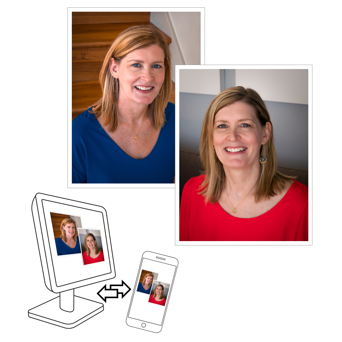 photo illustration of portrait poses with computer and mobile device