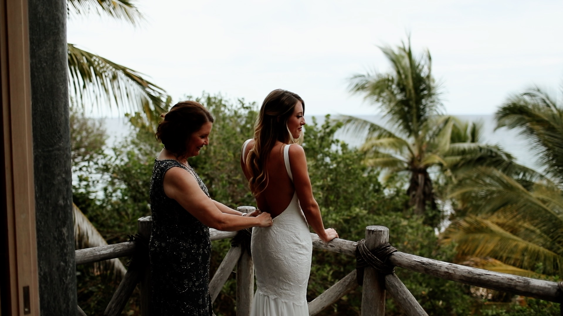 Bride Getting Ready on Terrace at Teitiare Estate Sayulita Mexico Wedding