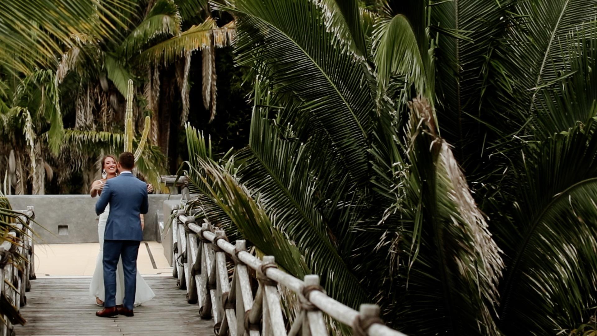 Bride and Groom First Look Teitiare Estate Sayulita Mexico Wedding