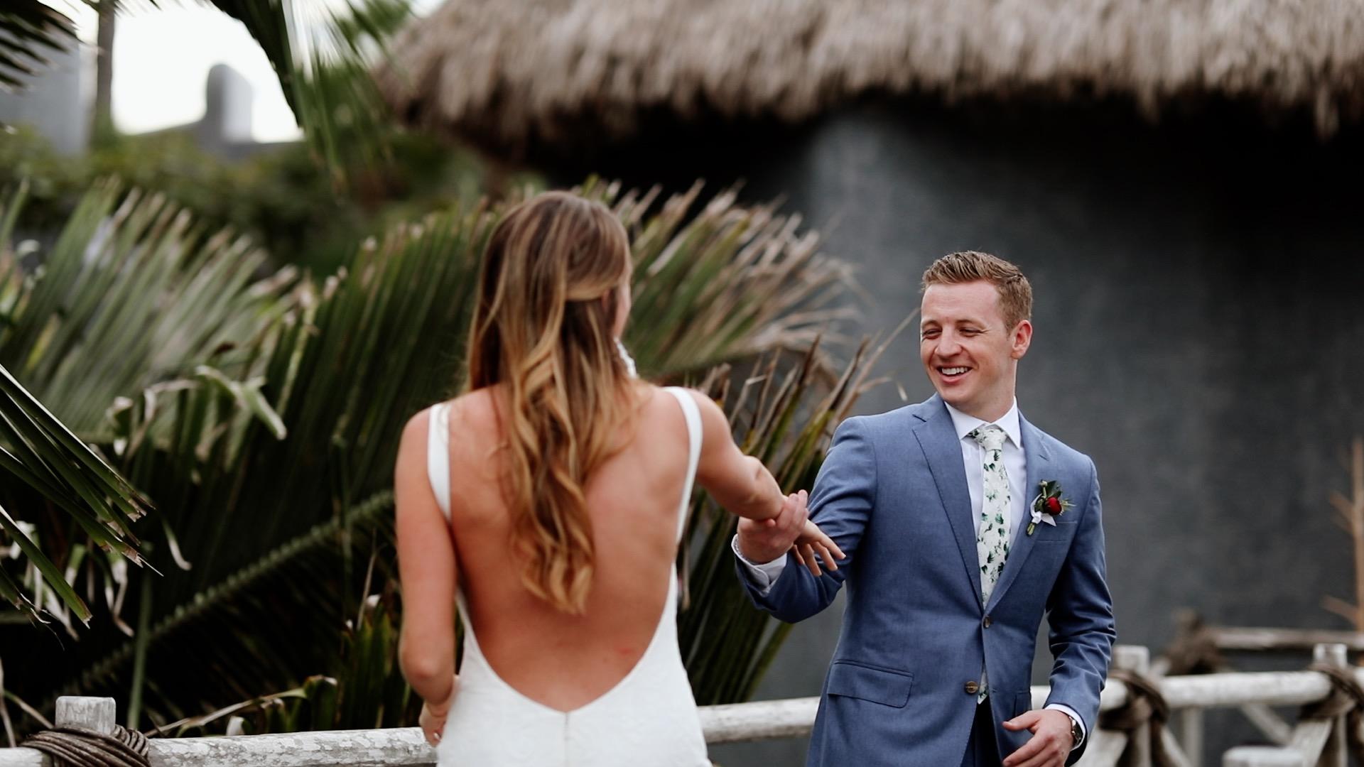 Bride Groom First Look Teitiare Estate Sayulita Mexico Wedding