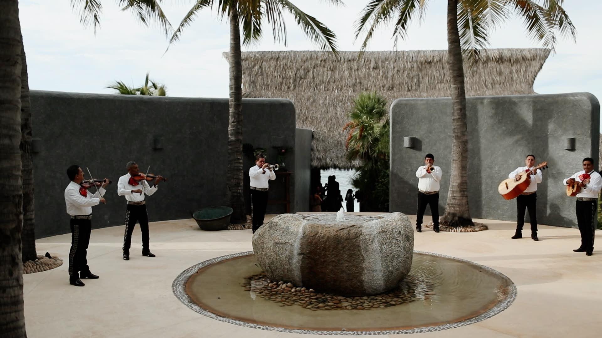 Mariachi Band Greeting Guests Teitiare Estate Sayulita Wedding