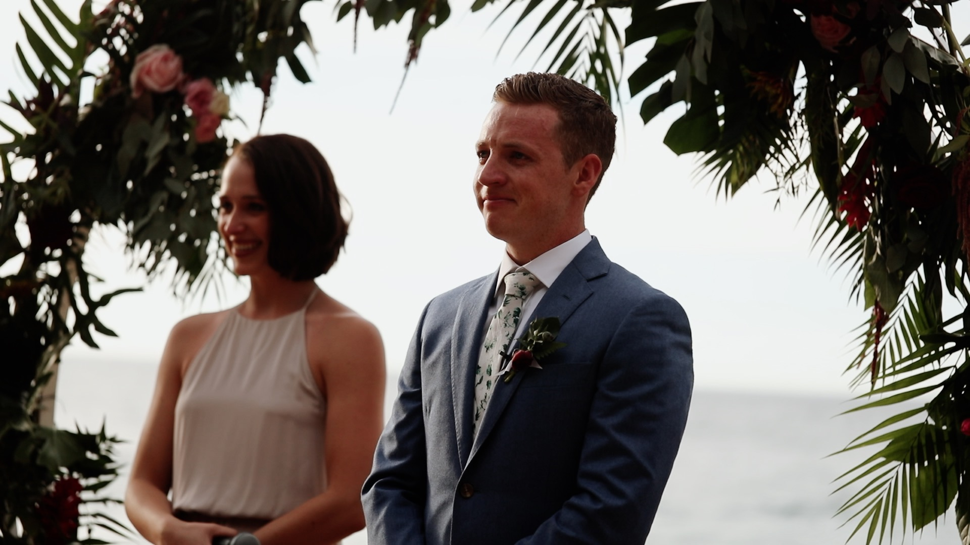 Groom Reaction Teitiare Estate Sayulita Mexico Wedding