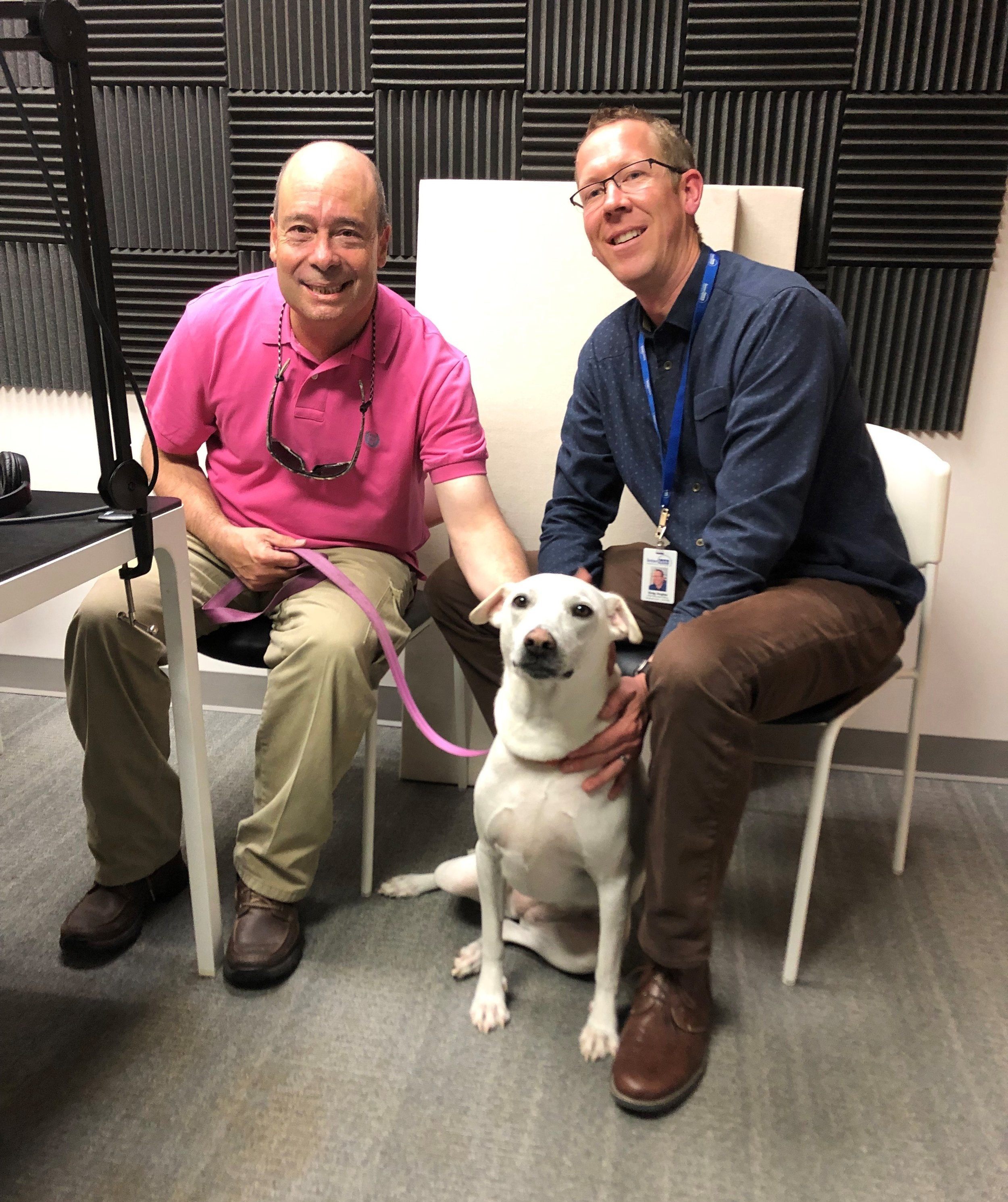 Greg, Brian, and Blondie in the podcast studio.