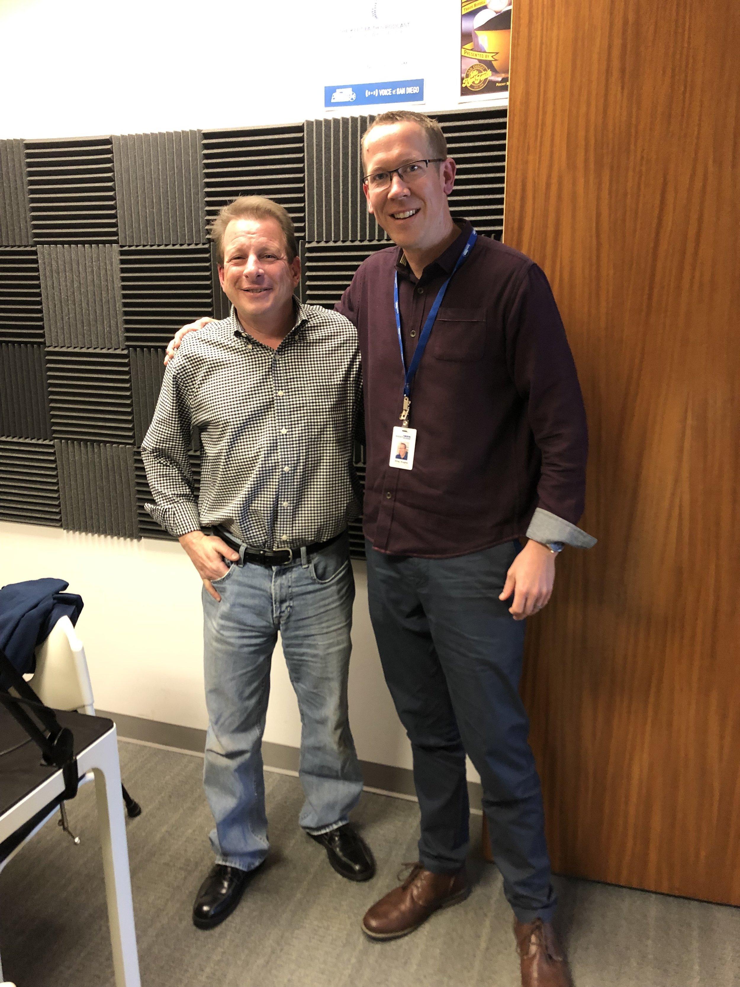 Rabbi Castiglione and Greg Anglea at the recording studio